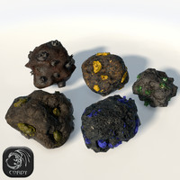 ore pieces 3d 3ds