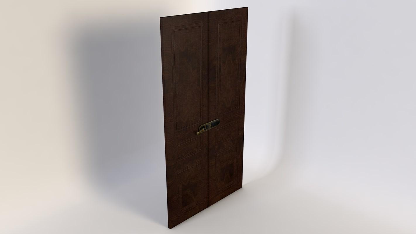 3d double wood door