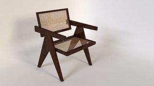 3d old chair fauteuil bois model