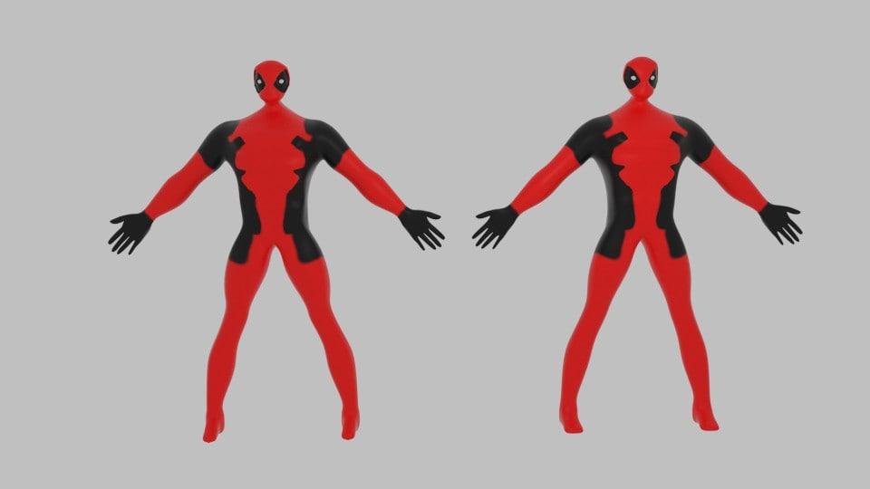 3d cartoon deadpool model