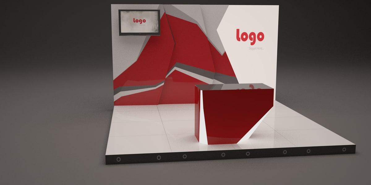 3d creative booth design 4m model