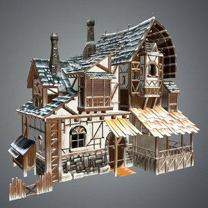 medieval house snow 3d max