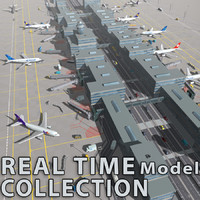 airport terminal air aircrafts 3d model