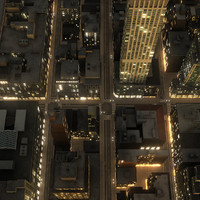 Manhattan District 01 Night Low Poly