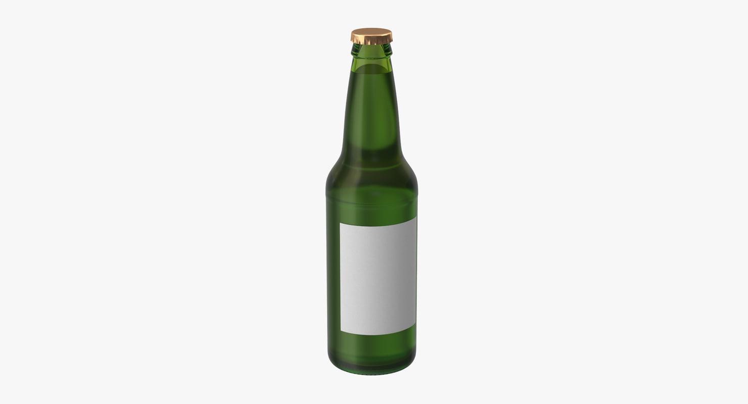 green beer bottle 3d model