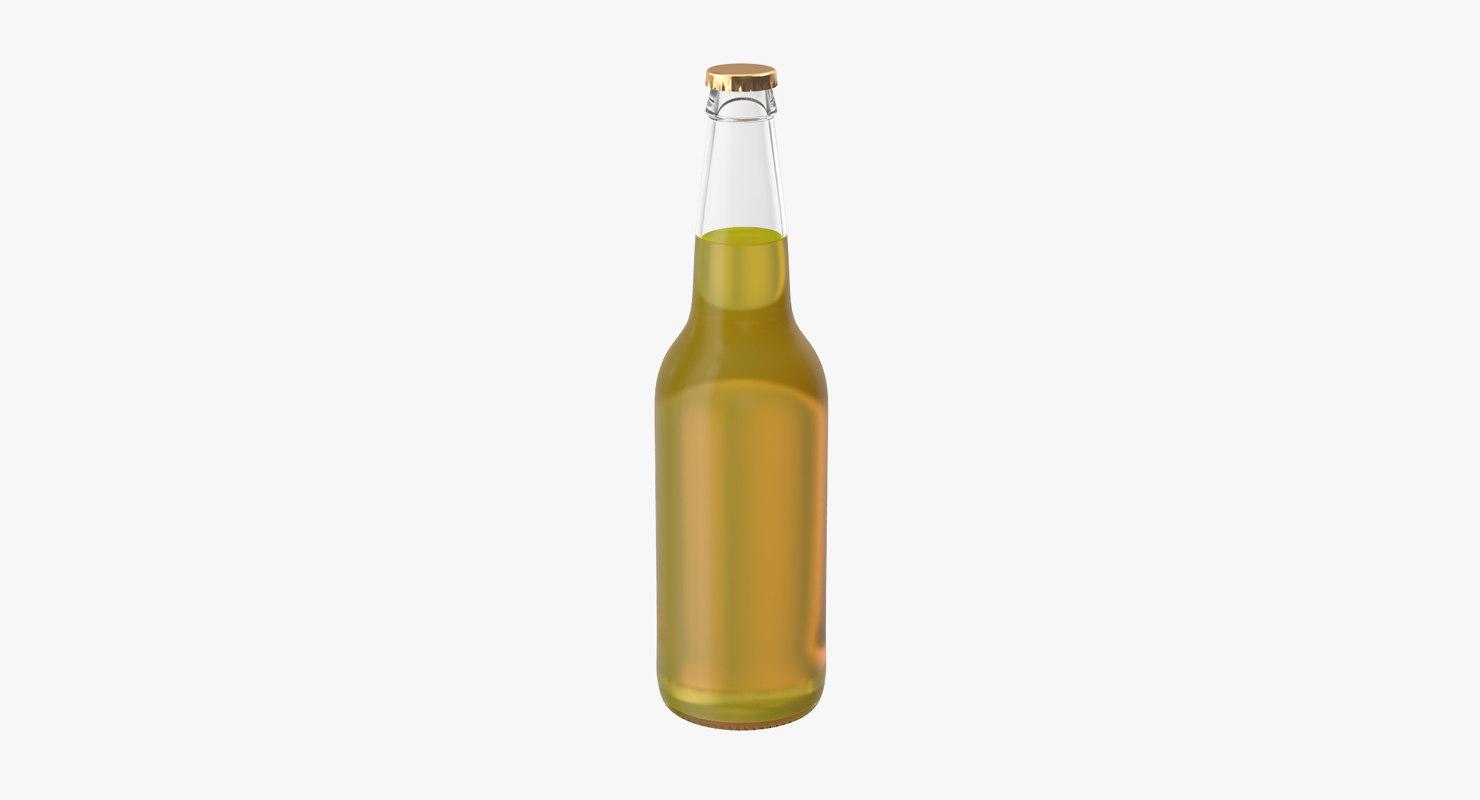 yellow beer bottle 3d model