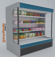 3d model fridge milks juices