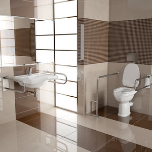elderly disabled bathroom interior c4d