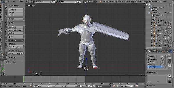 3d model of rigged swordsman