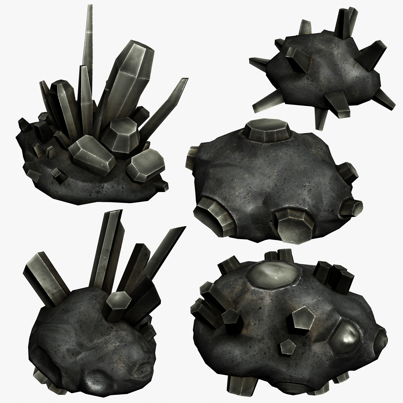 5 asteroid crystals 3d model