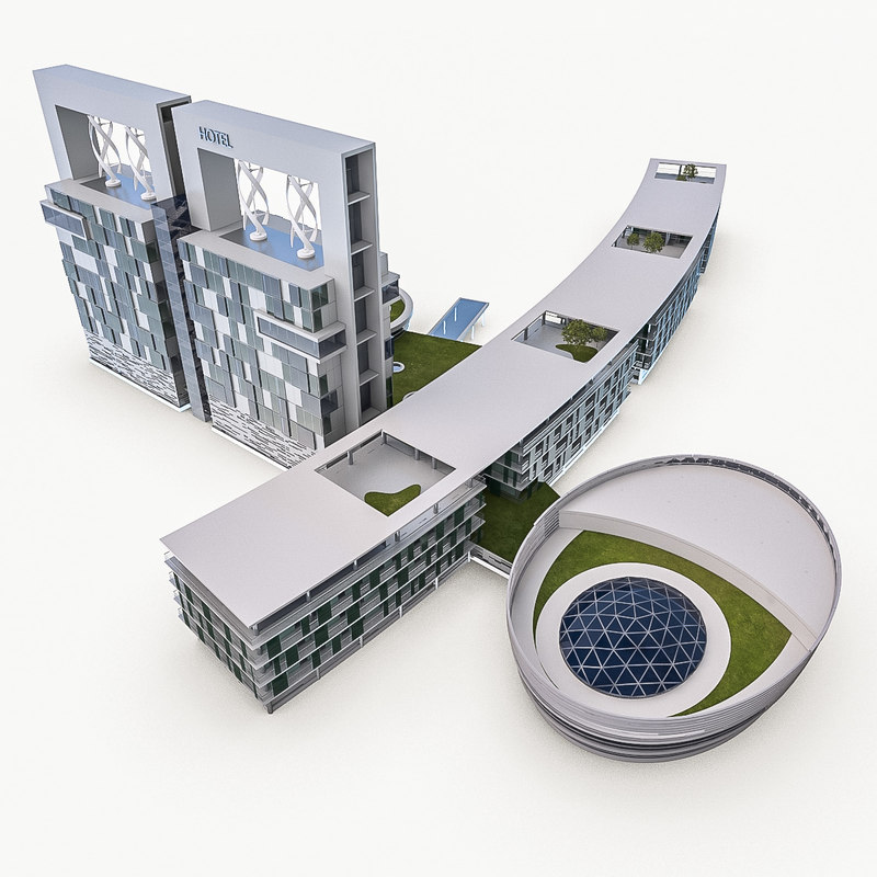 3d max high-rise hotel building exterior