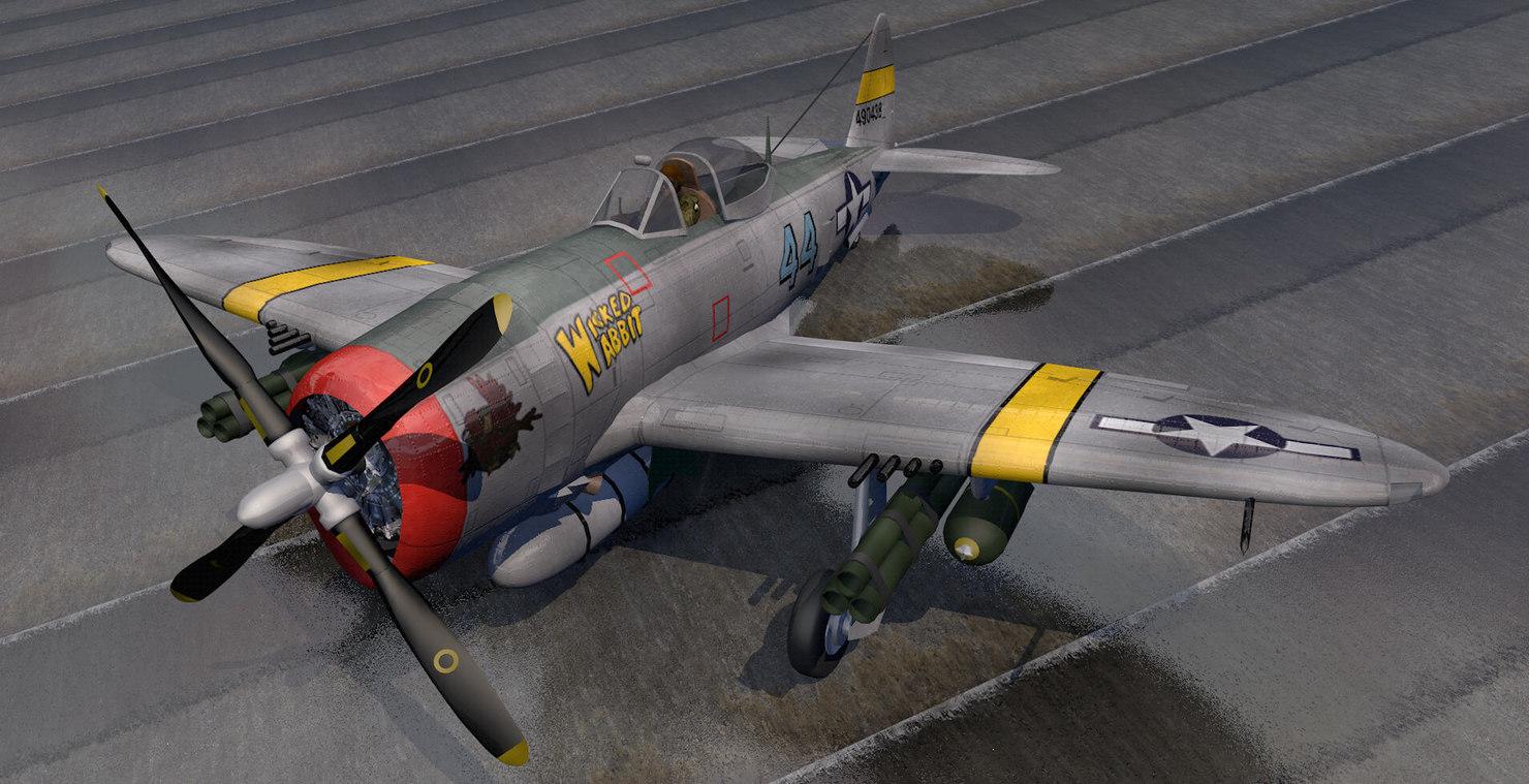 republic p-47d-25 thunderbolt bubbletop 3d 3ds