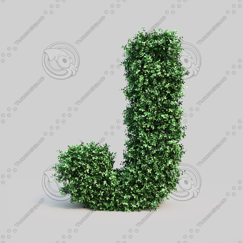 alphabet j buxus 3d model