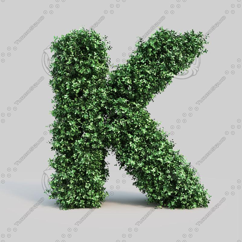alphabet k buxus obj
