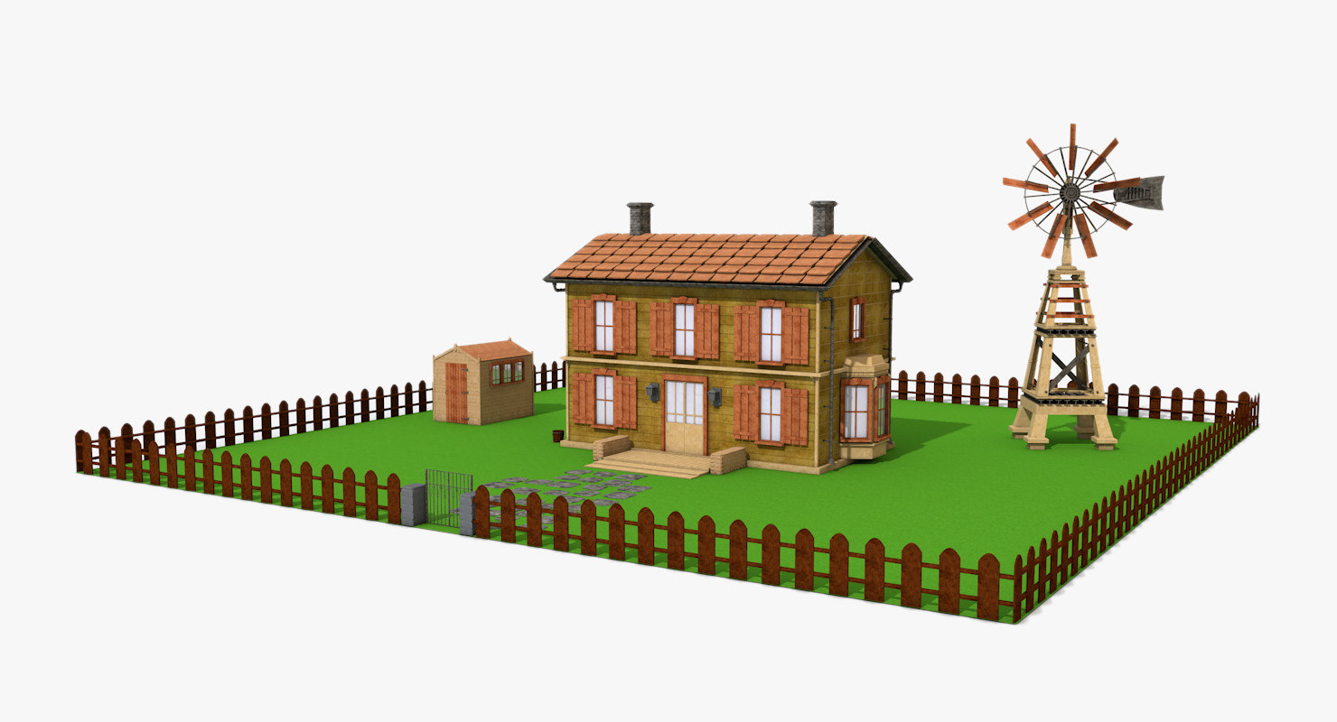 3d designs country house windmill model