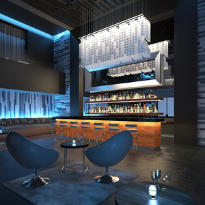 3d scene contemporary lounge bar