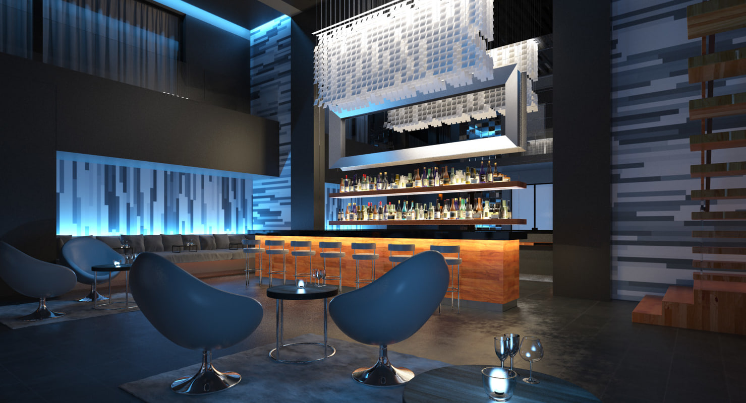 3d scene contemporary lounge bar