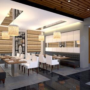 3d scene modern restaurant model
