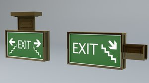 games exit sign 3d obj