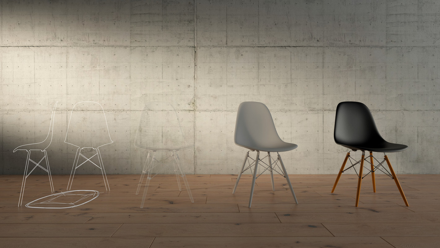 3d model eames plastic chair