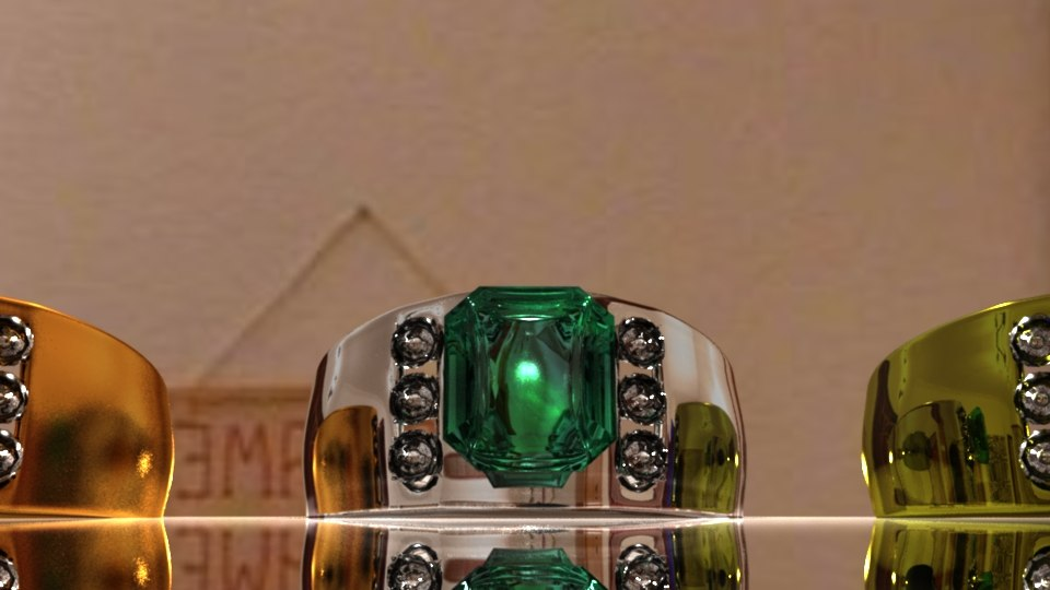 3d model rings stones gold
