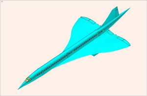concorde supersonic aircraft solid 3d 3ds