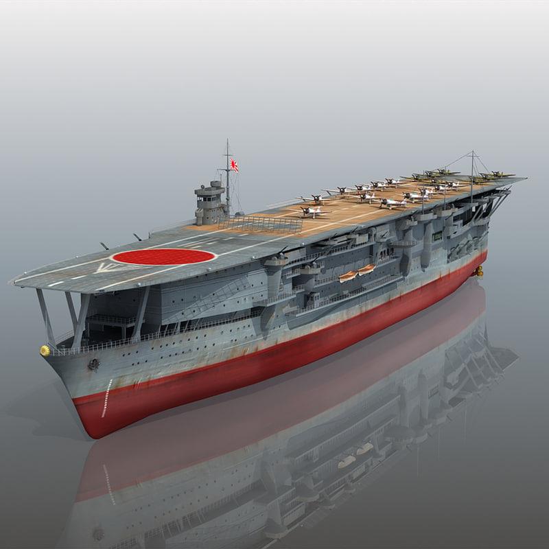 japanese aircraft carrier kaga 3d max