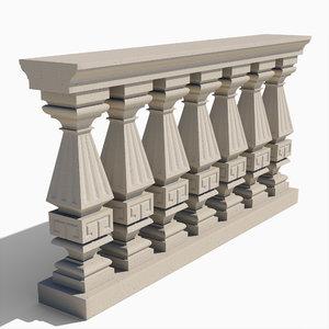 square balustrade - 3d model