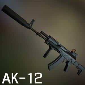 russian assault rifle ak-12 3d model