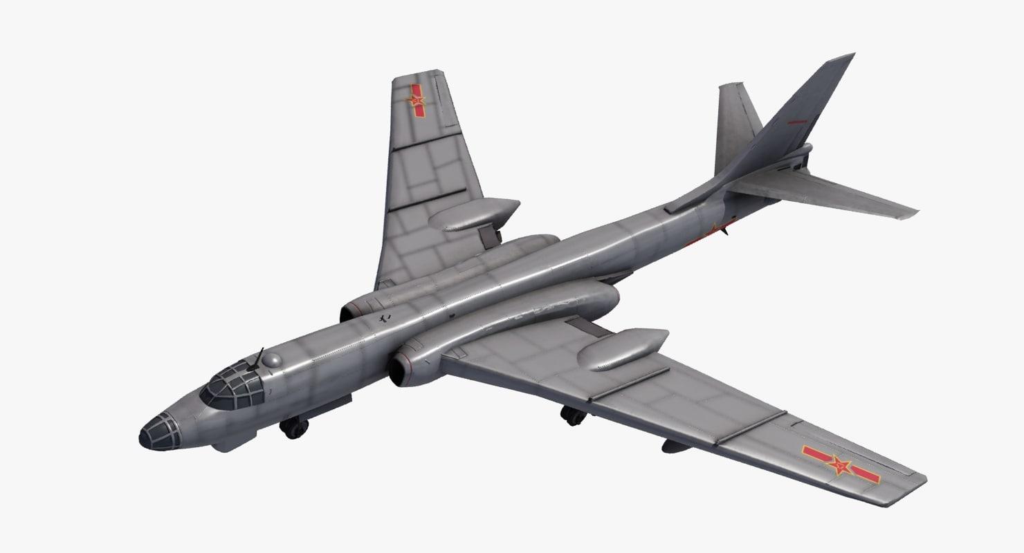 3d model of xian h-6 bomber
