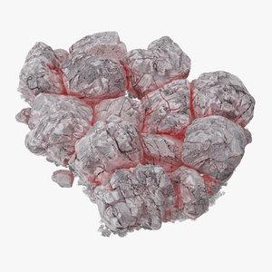 3d pile coals