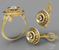 ring earrings 3d 3dm
