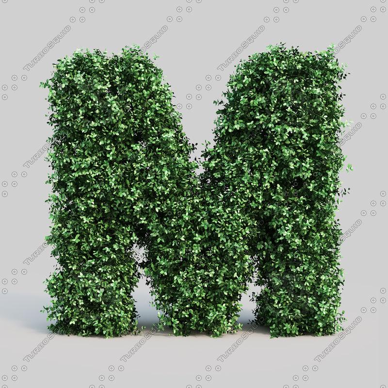 3d model alphabet m buxus