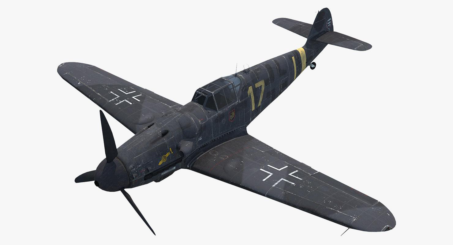 3d rigged fighter aircraft messerschmitt model
