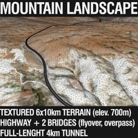 3d model of mountain landscape tunnel highway