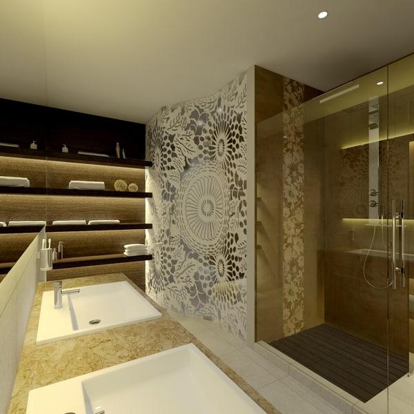 3d model scene modern bathroom