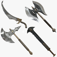3d cutting weapons set model