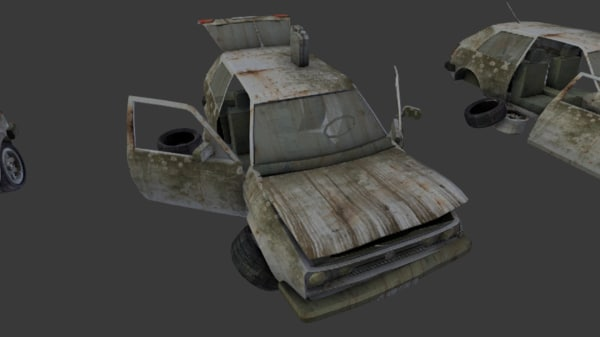 2 broken post apocalyptic 3d model