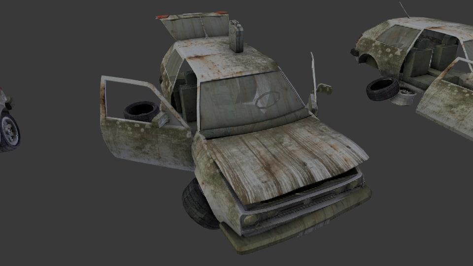 2 broken post apocalyptic 3d model