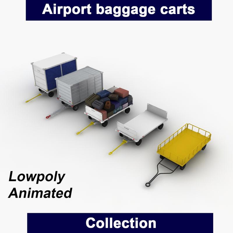 3d airport baggage carts