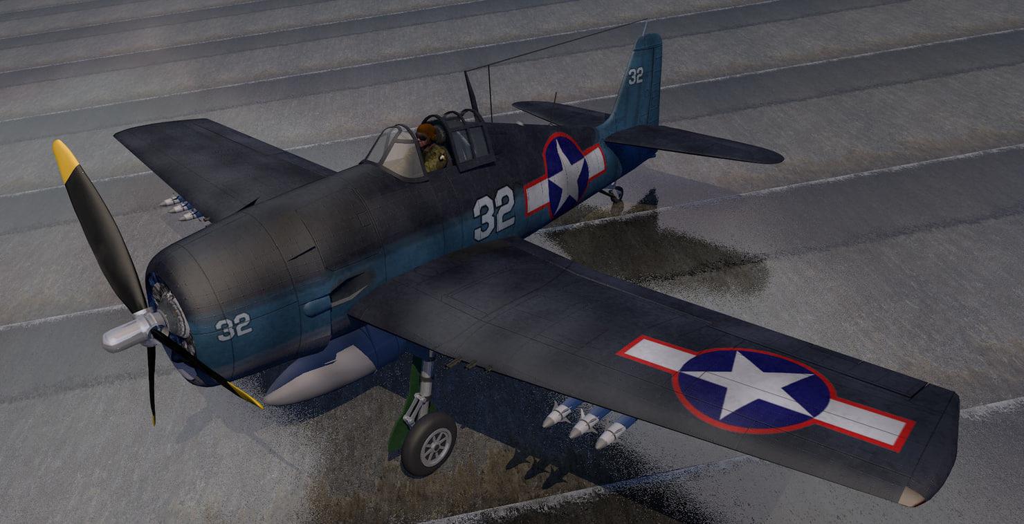 3ds grumman f6f-3 hellcat fighter