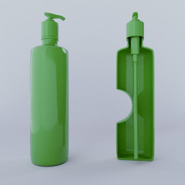 3d shampoo bottle model