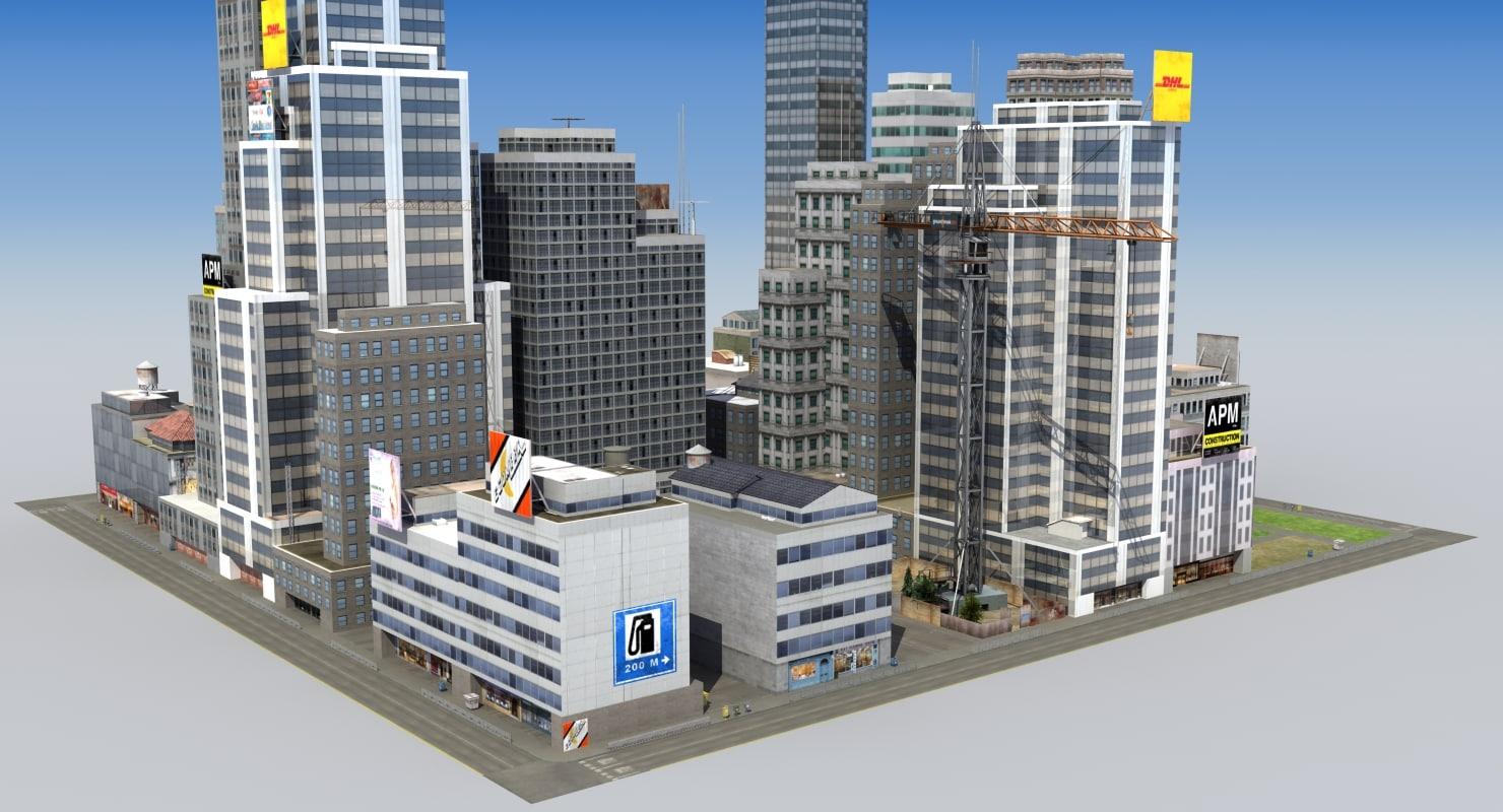 3d hdrt city block d model