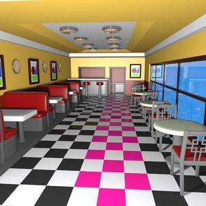 3d cartoon burger restaurant