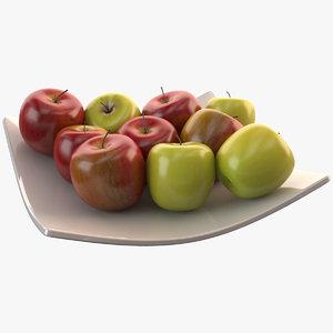 3d model apple bowl realistic