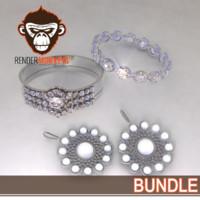 jewelry bracelet earring 3d model