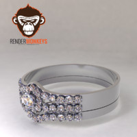 3d diamond wedding ring model