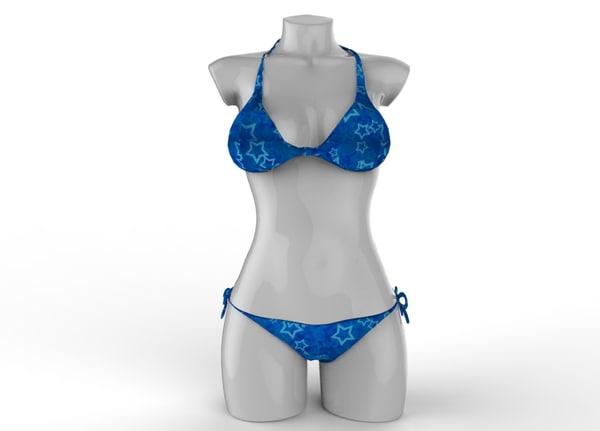 sexy blue bikini 3d obj