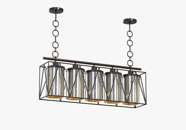 pendant marmande rectangular chandelier 3d model