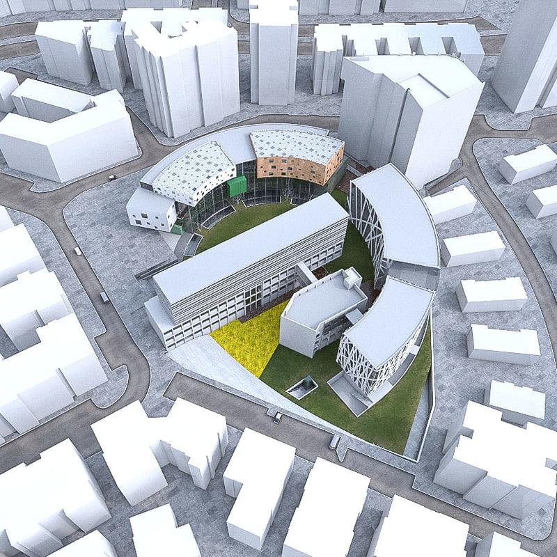 3d university buildings set model